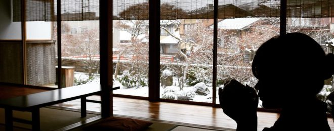雪景色, お抹茶 宗祇庵
