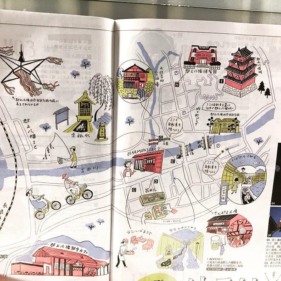手書き 郡上八幡 地図
